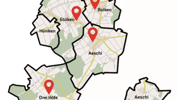 Fünf Gemeinden, vier Schulstandorte - die aktuelle Regionale Schule Äusseres Wasseramt.