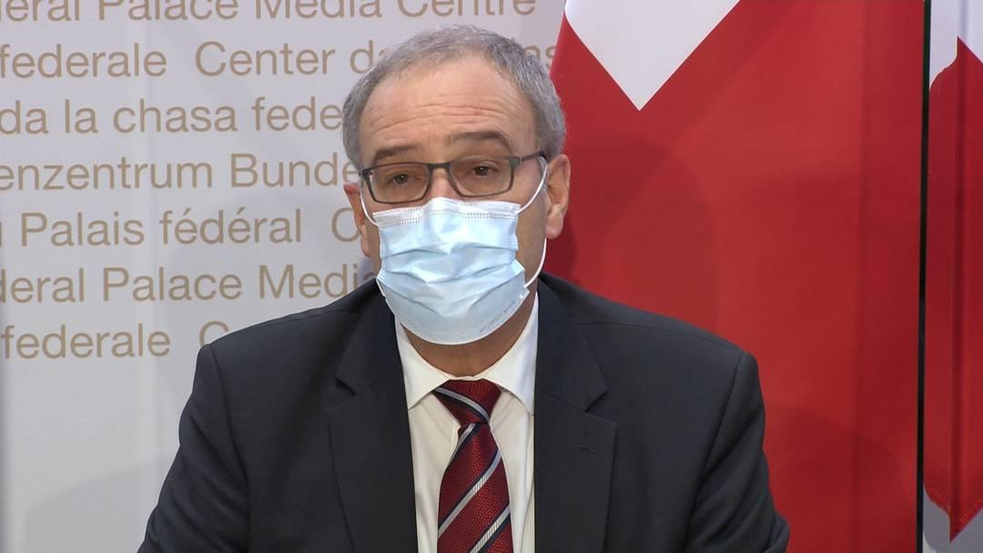 """Bundespräsident Parmelin: """"Verlängerung und Verschärfung der Massnahmen unbedingt notwendig"""" (13.12.2020)"""