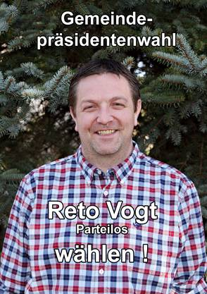 Die Vorderseite des nicht verteilten Wahlflyers von Reto Vogt.