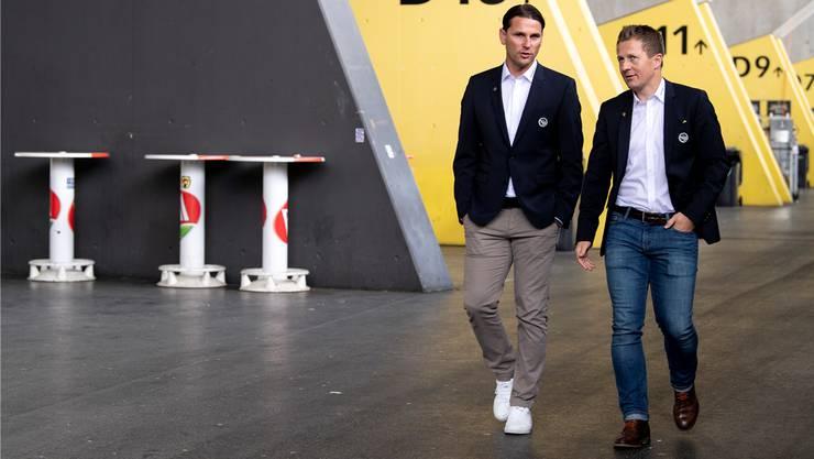 Bald können sie feiern bei YB: Trainer Gerardo Seoane (l.) und Sportchef Christoph Spycher (r.)