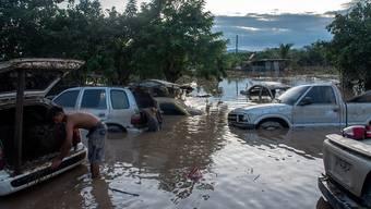dpatopbilder - Bis über die Reifen geflutete Autos stehen auf einer überschwemmten Straße. «Eta» hat in der ganzen Region für heftigen Regen und gesorgt. Foto: Seth Sidney Berry/SOPA Images via ZUMA Wire/dpa