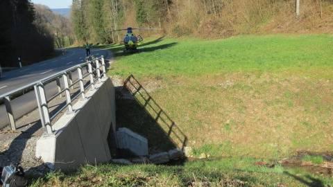 Ein Rettungshelikopter musste den Mann mit Verdacht auf schwere Verletzungen ins Spital fliegen.