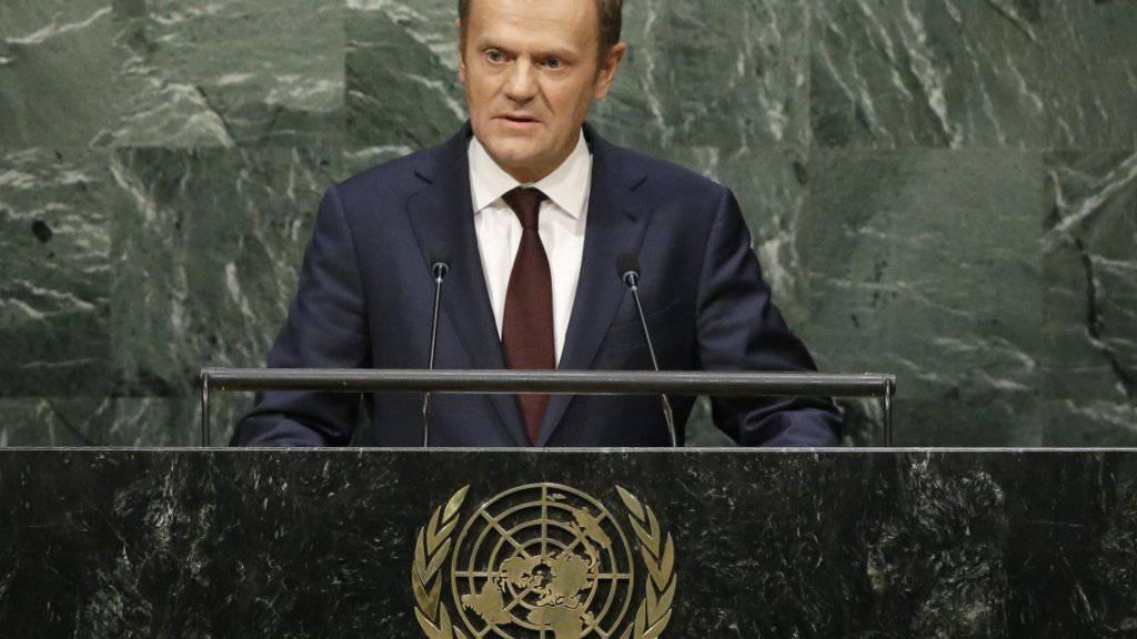 EU-Ratspräsident Donald Tusk macht in der UNO-Vollversammlung in New York klar, dass Baschar al-Assad in Syrien abtreten muss.