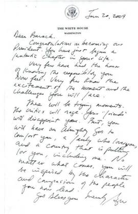 Diesen Brief hinterliess George W. Bush seinem Nachfolger Barack Obama im Oval Office.