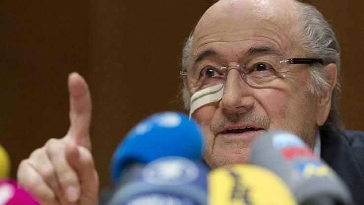 Sepp Blatter an der Pressekonferenz am Montag in Zürich.