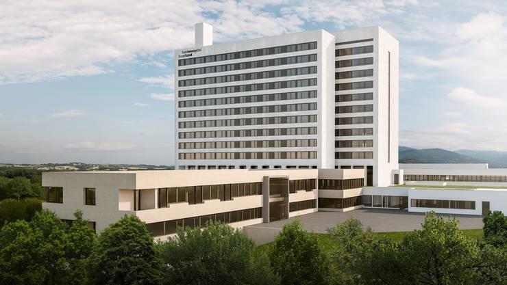 Fast wie neu: Das Bruderholzspital nach der geplanten Sanierung mit neuer Frauenklinik im Vordergrund.