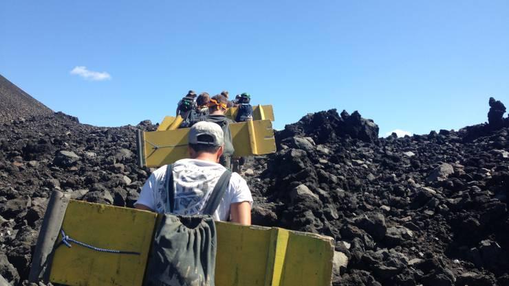 Der Aufstieg auf den Vulkan Cerro Negro ist beschwerlich.