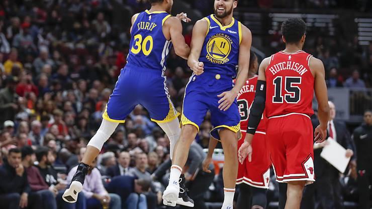 Klay Thompson knackte die Rekordmarke seines Kollegen Stephen Curry und traf gegen die Chicago Bulls 14 Dreipunktewürfe