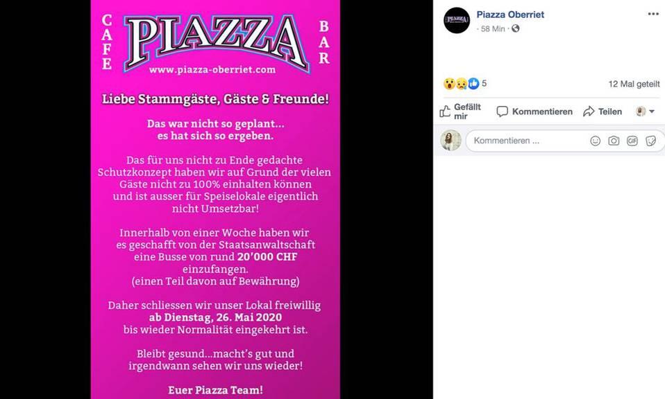 Das «Piazza» informiert seine Gäste über Facebook.