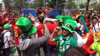 Irische und belgische Fans vor dem Match in Bordeaux