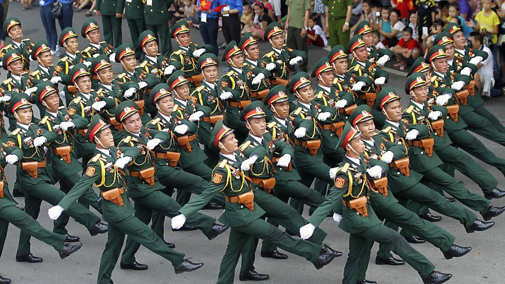 70 Jahre Unabhängigkeit: Soldaten bei der Parade in der vietnamesischen Hauptstadt Hanoi
