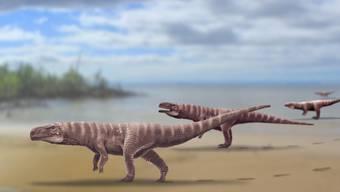 Urkrokodil auf zwei Beinen: Batrachopus grandis.