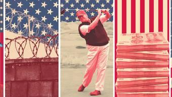 Obamacare, Mauer, Golf und China: Hier wollte Präsident Trump in den ersten 100 Tagen liefern – und patzte. Einzig Neil Gorsuch, seinen Kandidaten für den Supreme Court, bekam er durch. Montage: Marco Tancredi