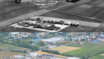 Grenchen aus der Luft vor etwa 60 Jahren und heute.