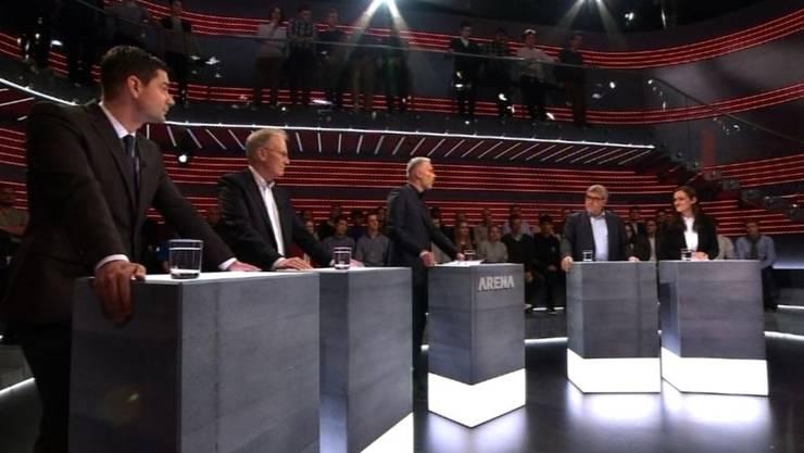 Atomstreit in der «Arena»: Benjamin Giezendanner (SVP), Hans-Ulrich Bigler (FDP), Moderator Sandro Brotz, Eric Nussbaumer (SP) und Marionna Schlatter (Grüne).