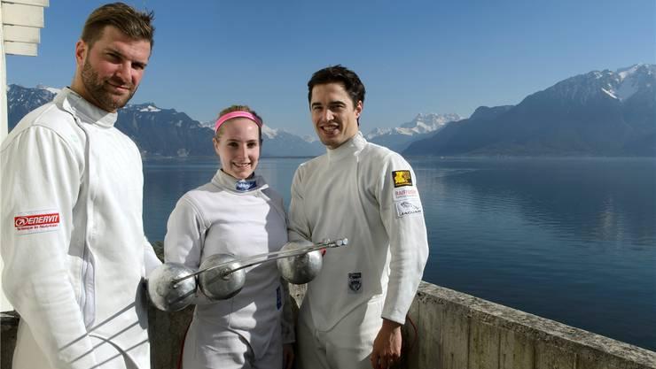 Die Aushängeschilder der Fechtgesellschaft Basel: Benjamin Steffen, Laura Stähli und Max Heinzer (v.l.) gehen auf Punktejagd für die Olympischen Spiele.