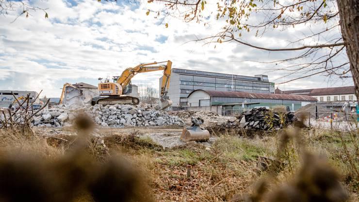 Auf diesem Gelände im Torfeld Süd (beim grauen Gebäude) soll das neue Aarauer Fussballstadion zu stehen kommen.