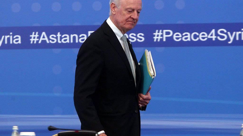 Kein Durchbruch in Astana: Das syrisches Regime und die Aufständischen setzten ihre Unterschriften nicht unter die Abschlusserklärung. Der UNO-Sondergesandte de Mistura dürfte enttäuscht sein.