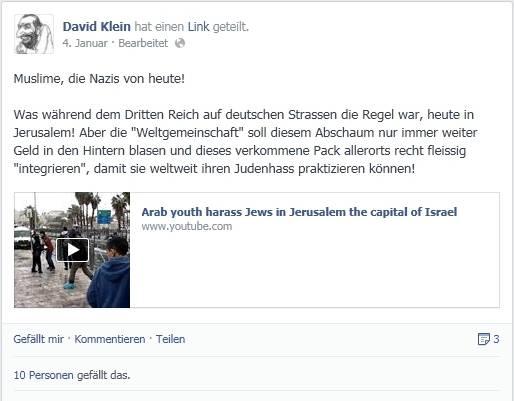 Dieser Beitrag war auf dem Facebook-Profil von David Klein öffentlich einsehbar.