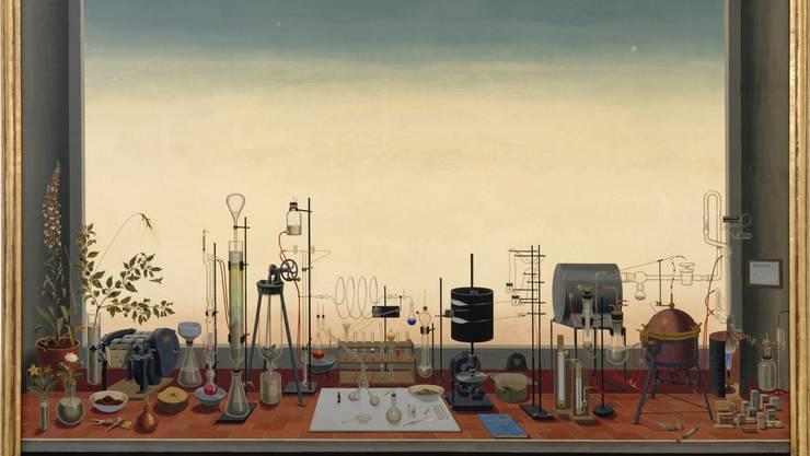 1940 erstellte der Basler Maler Niklaus Stoecklin im Auftrag der Sandoz AG das Stillleben «Chemiebild oder Die neue Zeit».