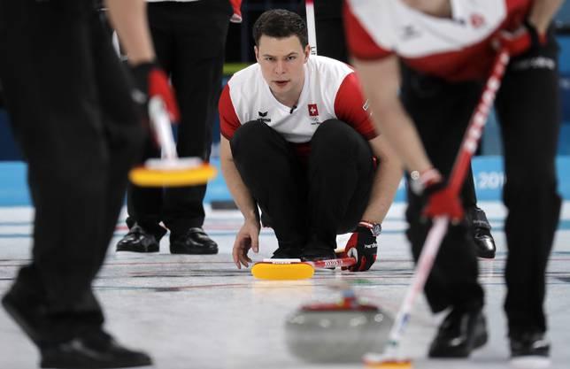 Volle Konzentration: Claudio Pätz an den Olympischen Spielen beim entscheidenden Sieg gegen Kanada.