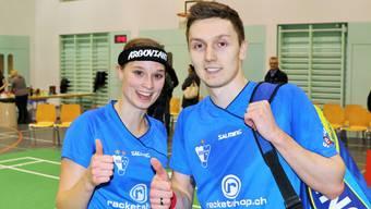 Lea Müller und Nikita Khakimov unmittelbar nach dem gewonnen Mixed in Uzwil - dem entscheidenden 4. Spiel zum Unentschieden.