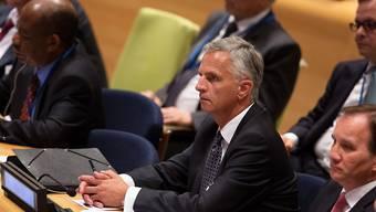 Aussenminister Didier Burkhalter am Dienstag während dem Gipfeltreffen gegen den IS-Terrorismus. Am Mittwoch sprach Burkhalter auch vor dem UNO-Sicherheitsrat. (Archivbild)