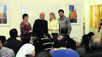 Silo-Team: Yvonne Stieler, Rolf Geiser und Gasim Nasirov (v.l.) verabschieden sich zusammen mit Stadträtin Nadine Masshardt (2.v.r.). Oliver Menge