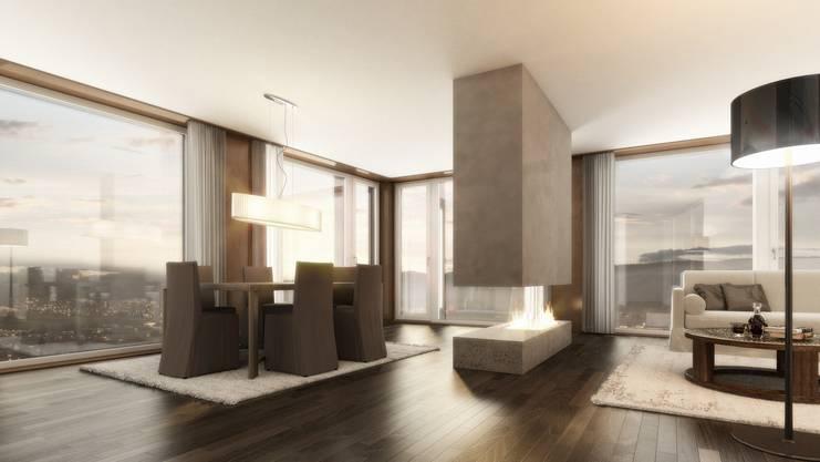 Visualisierung einer Eigentumswohnung im Limmat-Tower