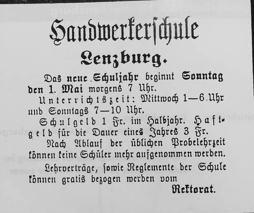 Der Unterricht der Handwerkerschule Lenzburg fand bis nach dem Ersten Weltkrieg am Sonntagmorgen statt.