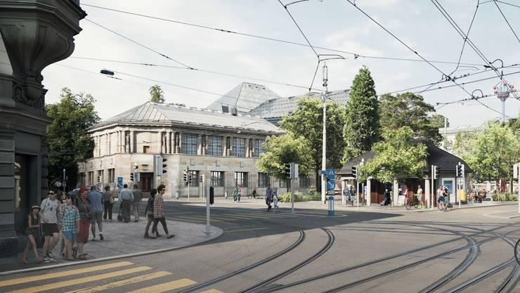 Die Vorzone des Schauspielhauses wird von 2 auf 5,5 Meter verbreitert, die Haltestelle der Tramlinien 5 und 9 wird verlegt.