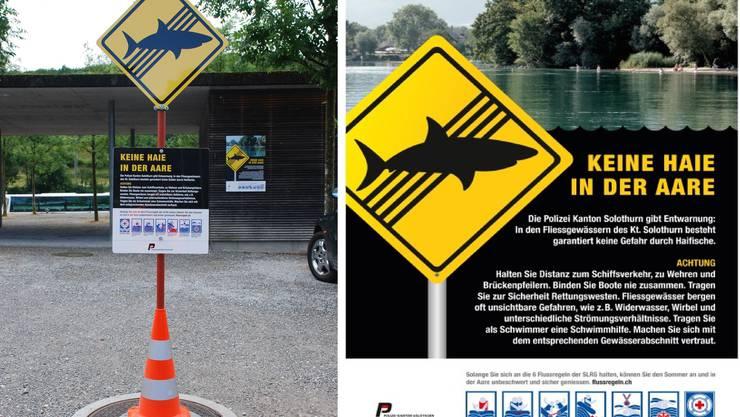 Elf dieser Hinweisschilder hat die Kantonspolizei Solothurn enlang der Aare aufgestellt.