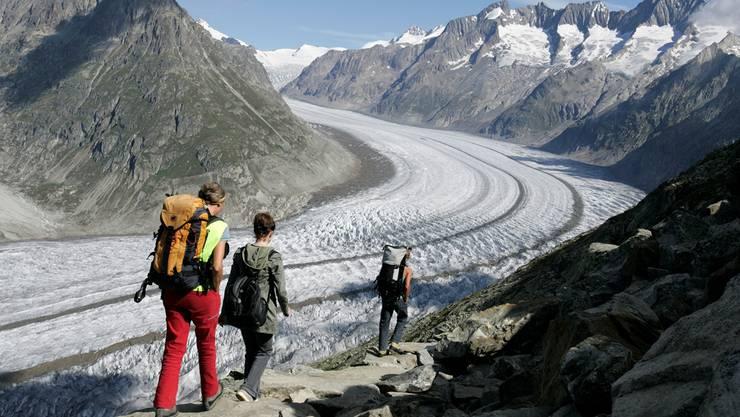 Dem Klimatod geweiht: Der Aletschgletscher im Wallis wird laut Forschern bis im Jahr 2100 praktisch weggeschmolzen sein. Key