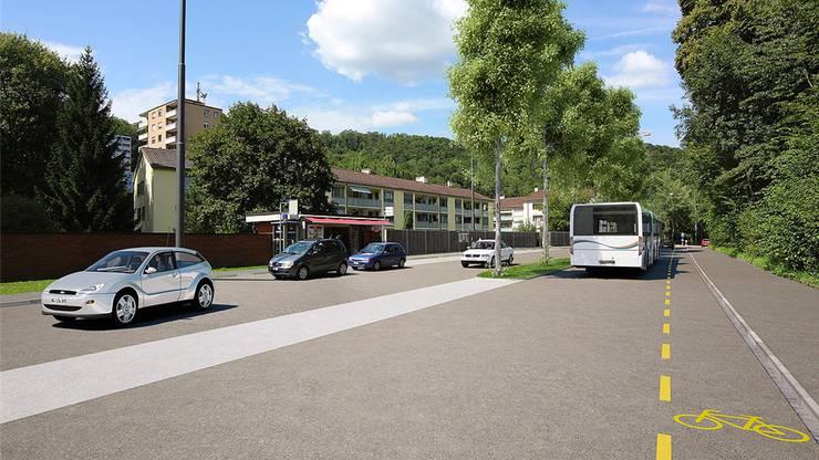 Die Visualisierung der neuen äusseren Mellingerstrasse zeigt kurz nach dem Badener Tor einen schlanken Mittelstreifen.