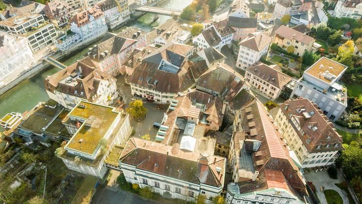 Das Badener Bäderquartier, hier noch mit dem «Staadhof» von 1969. (Archiv)