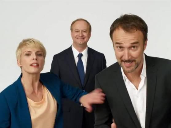 Zusammen mit Schauspielkollege Carlos Leal und UPC-Cablecom-Chef Eric Tveter (Mitte) war Stéphanie Berger auch in TV-Spots zu sehen.