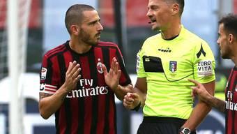 Gegen Genoa nach dem Videobeweis ausgeschlossen: Milans Innenverteidiger Leonardo Bonucci