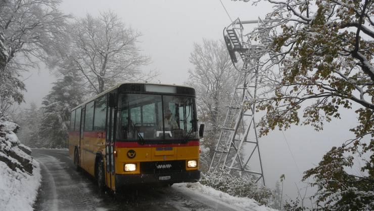 Am zweitletzten Wochende vor der Betriebseinstellung am Sonntag fuhr das Postauto auf einen verschneiten Weissenstein.