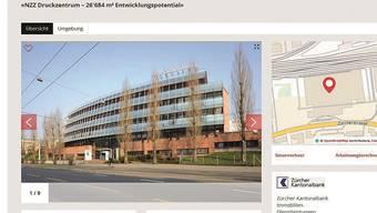Die Zürcher Kantonalbank bietet die Liegenschaft im Auftrag der NZZ auf «Homegate» feil.