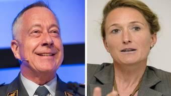 Gegensätzliche Gripen-Positionen: Der Schweizer Armeechef André Blattmann und die Aargauer Militärdirektorin Susanen Hochuli.