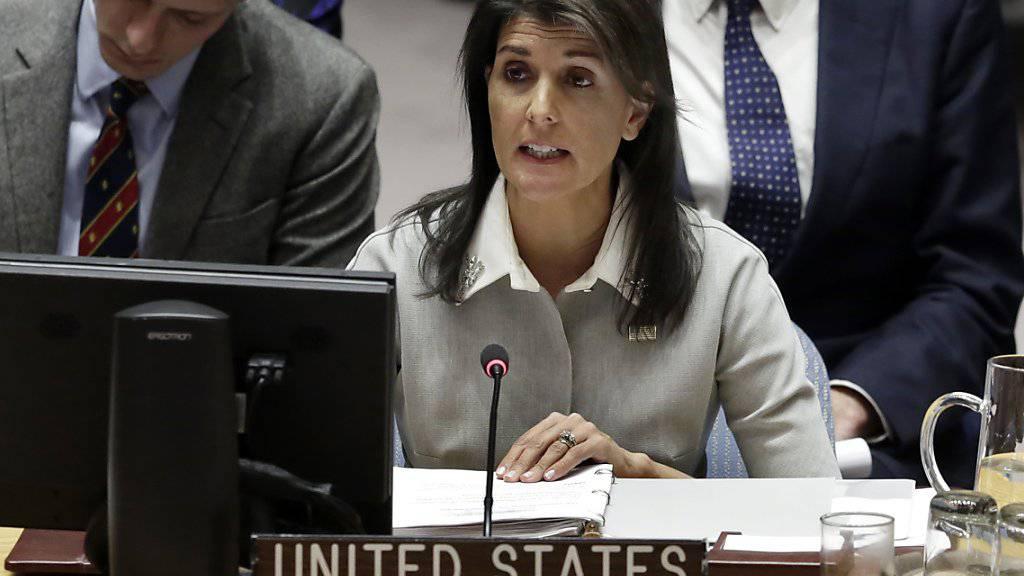 «Jetzt können sie zusammenkommen und entscheiden, wie die Grenzen aussehen»: Die US-amerikanische Uno-Botschafterin Nikki Haley. (Archivbild)