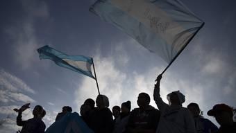 Argentinische Nationalmannschaft in Buenos Aires empfangen.