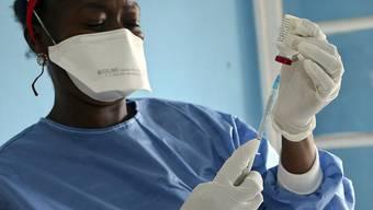 Ein Mitarbeiter der Weltgesundheitsorganisation (WHO) im Kongo bereitet eine Impfspritze gegen das Ebola-Virus vor. (Archivbild)
