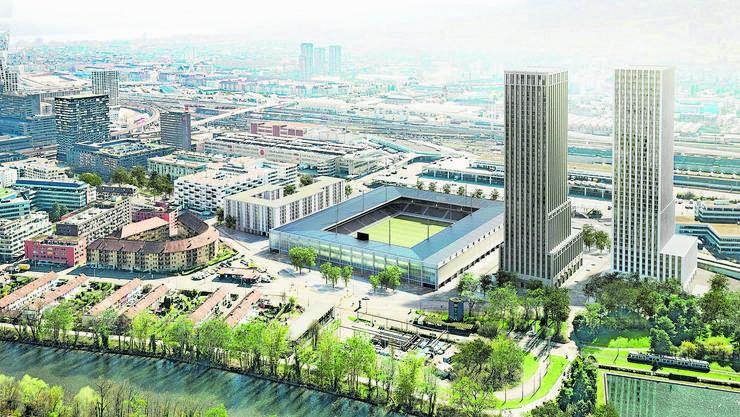 Quersubventioniert mit zwei Wohntürmen: Modellansicht des Zürcher Stadionprojekts. 18 000 Fans sollen in der neuen Arena Platz finden.