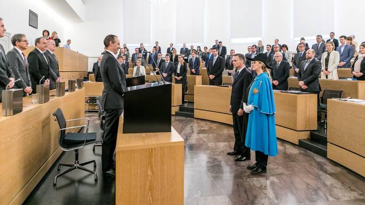 Vor gut einem Monat wurde der neu gewählte Regierungsrat Jean-Pierre Gallati im Grossratssaal in Pflicht genommen – am 18. Oktober wird mindestens ein neues Regierungsmitglied gewählt und das 140-köpfige Parlament neu besetzt.