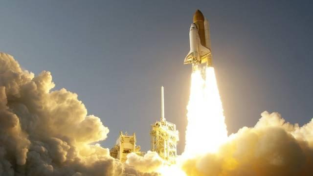 Die Discovery bei ihrem letzten Start vom Weltraumzentrum Cape Canaveral in Florida