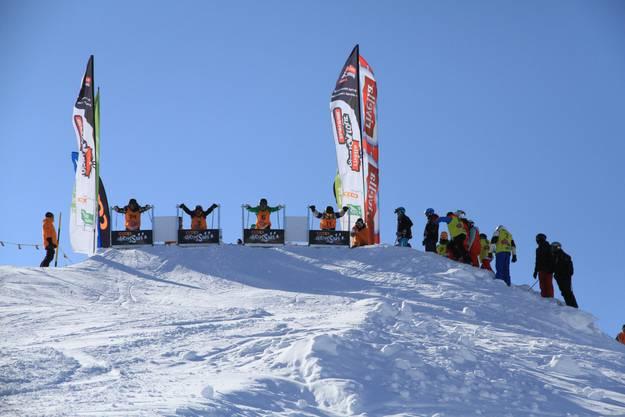 Ein Blick auf den Start der Skicross Startrampe.