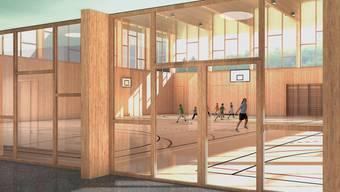 Visualisierung: Glaswände zwischen Foyer und Doppelturnhalle sollen eine lichtdurchflutete Anlage ergeben.
