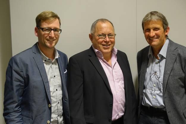 Präsident Konrad Imbach (Mitte) mit dem neuen Geschäftsführer Patrick von Däniken (l.) sowie dem abtretenden Geschäftsführer Geri Kaufmann.