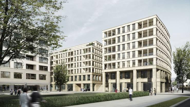 So soll das Gebäude im Quartier Limmatfeld aussehen, in dem sich die Schule einmieten will.